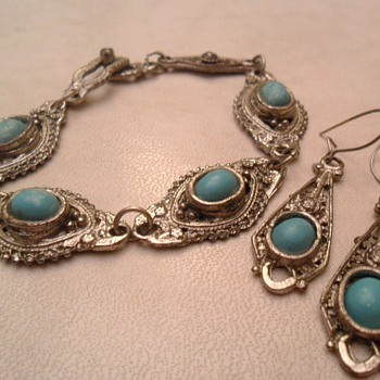 Very old bracelet and earings with turquoise stones. Age and origin help please! - Fine Jewelry