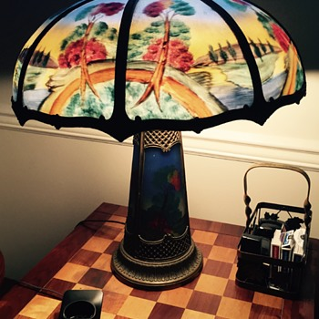 Beautiful panel lamp! Can someone tell me a little about it? It's been in my dads house for the past 40 years - Lamps