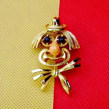Trifari Clown Brooch - Costume Jewelry