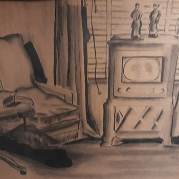 Unknown 1945 artist drawing signed - Fine Art