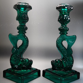 Metropolitan Museum of Art / Imperial Glass - Koi Fish Candlesticks - 1970's - Art Glass
