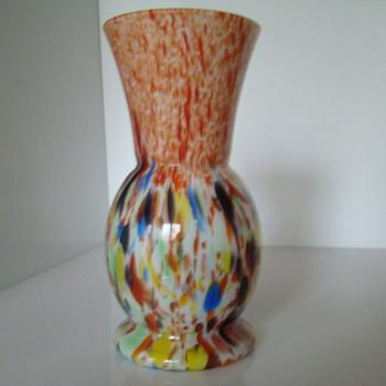 Art Deco spatter vase - Art Glass