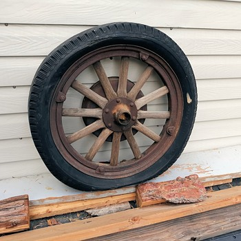Wood Spoke Wheel With Pneumatic Tire From a 1920s Studebaker  - Classic Cars