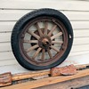 Wood Spoke Wheel With Pneumatic Tire From a 1920s Studebaker