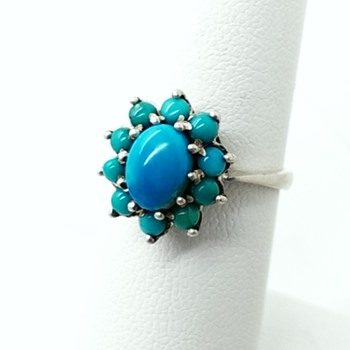 Vintage Antique? Silver Turquoise Cluster Cocktail Ring