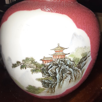 Hand painted ginger jar - Asian
