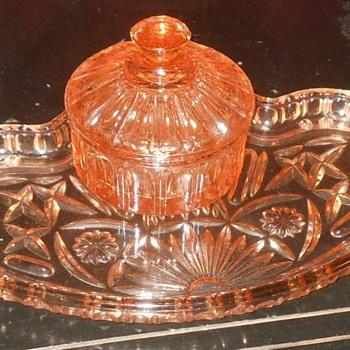 Pink Depresion Glass Vanity Set - Glassware