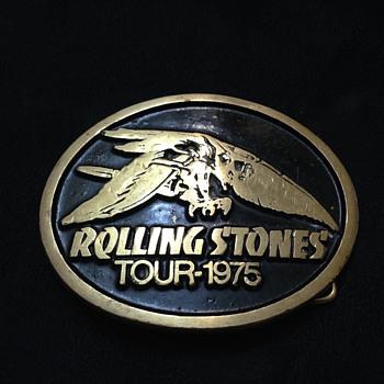 rolling stones tour 1975 belt buckle with Rocket Eagle Logo
