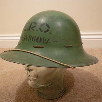 British WWII Civil Defence steel helmet.