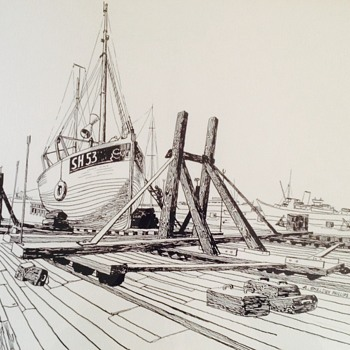 Arthur Sheldon Phillips (1914-2001) pen and ink shipyard scene - Fine Art