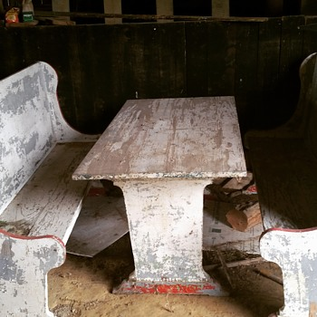 Antique farm table and benches.