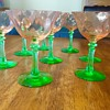 Pink and green Vaseline coctail glasses