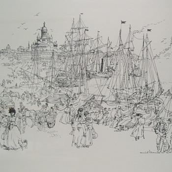 "Finnish Black Ink Drawing by Unidentified ""Famous Artist"" - Fine Art"