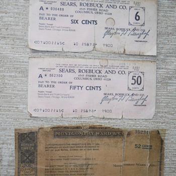 Old checks Sears & Montgomery Ward  - Office