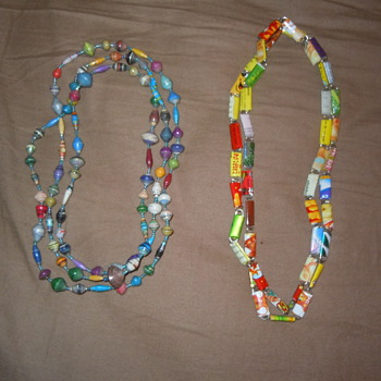 Found these  thrift store shopping. Candy or gum wrapper necklaces