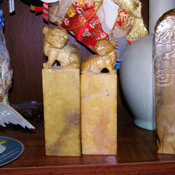 Antique Japanese Aoki Family Lion Seal My Great Grandfathers Seal - Asian
