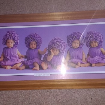 Anne Geddes The baby Photographer Purple dressed babies on a purple background print. - Fine Art