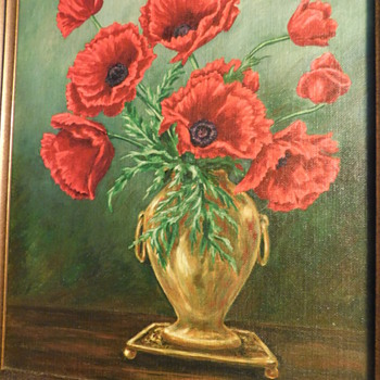 Fine Art. Oil Painting. Still Life. Poppies in Antique Vintage Vase. by N Curtis Evans. Amazing Work ! 11 x 14