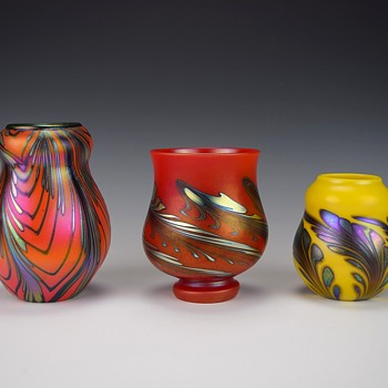 TRIO OF CHARLES LOTTON MANDARIN VASES FOR KEVIN - Art Glass