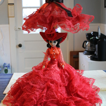 Victorian Red Lace Doll Lamp