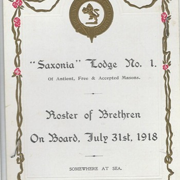 """""""Saxonia"""" SS Lodge No.1  July 31, 1918  (Somewhere at Sea)WW1 - Military and Wartime"""