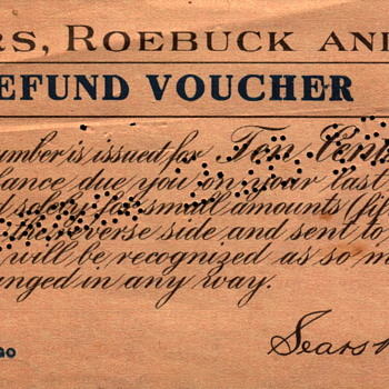 1918 Sears Roebuck Refund - Paper