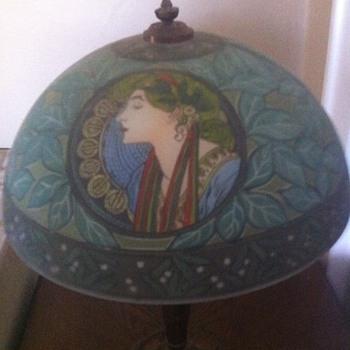 Fantastic Reverse Painted Art Nouveau Lamp - Lamps