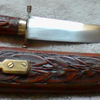 inia dagger knives w/hand carved wooden sheath brass locking mechanism - Asian