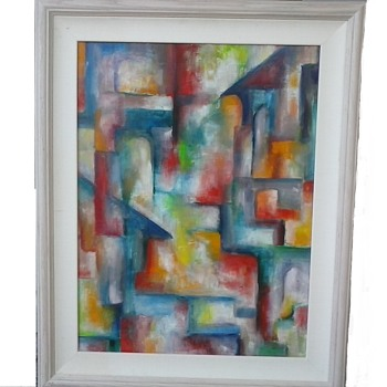 "Colorful Abstract Oil On Masonite Panel /23""x 29""  Framed/ Signed ""Kieffer""/Circa 20th Century - Fine Art"