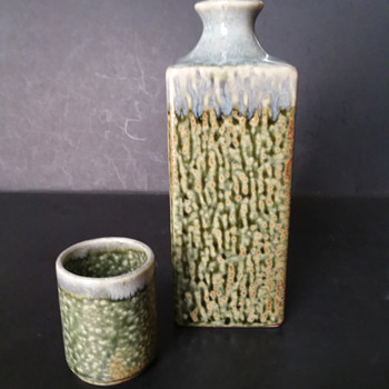 Square Japanese sake bottle and cup imported by Miya/Kafuh - Asian