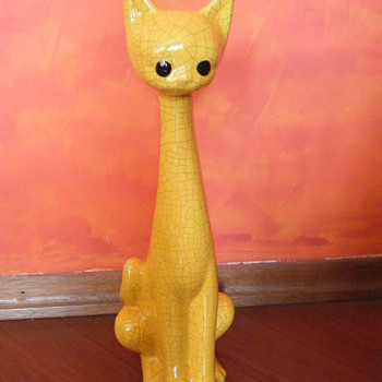 "20 inch tall ""Cracked/crazing Pottery""? yellow bisque? cat  - Animals"