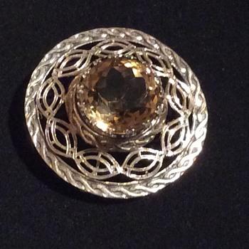 Scottish Sterling Silver & Citrine Brooch - Fine Jewelry