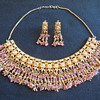 """Vintage Costume Jewelry Necklace and Earrings Crystal and Beads """"Solved"""" Kundan Necklace Set with Earrings For India Wedding"""