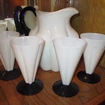 Morgantown Melon pattern alabaster and blue pitcher and four tumblers - Art Glass