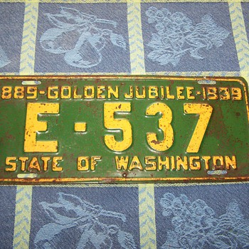 1939 Golden Jubilee Washington State License Plate