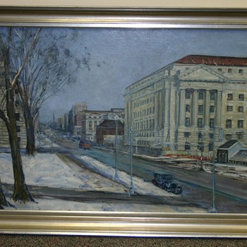 """Looking Down Penna. Ave. (Dept. of Labor)"", WPA.1935.8, 1935 Painting by Dorsey Doniphan - Fine Art"