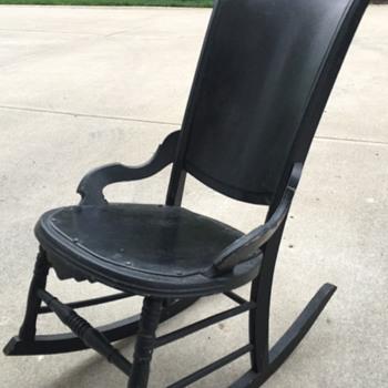Old black rocking chair  - Furniture