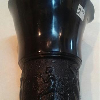 L E Smith Black Amethyst Vases - Glassware