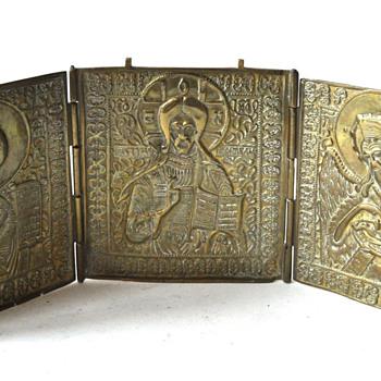 Russian Folding Triptych Icon c. 1850 - Victorian Era