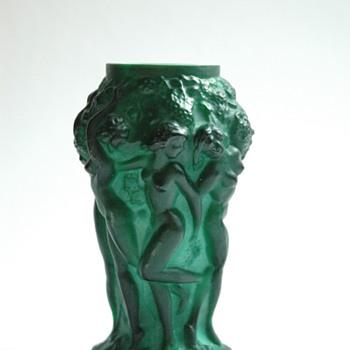 art deco bohemian malachite  cristal vase INGRID by HEINRICH HOFFMANN  - Art Deco