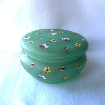 The Sweetest Enamel Flower Green Satin Glass Vanity Box Signed Czech - Art Glass