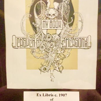 Ex Libris (Bookplate) CASPER EMERSON JR - American Artist Illustrator - Books