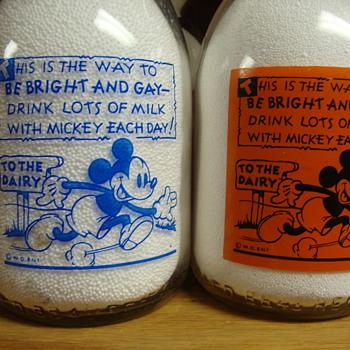 ONE COLOR & TWO COLOR DISNEY MILK BOTTLES........ - Bottles
