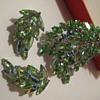 SHERMAN Green Leaf Brooch and Earring Set