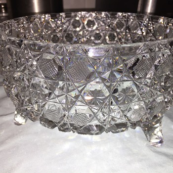 Three footed cut glass bowl - intricate
