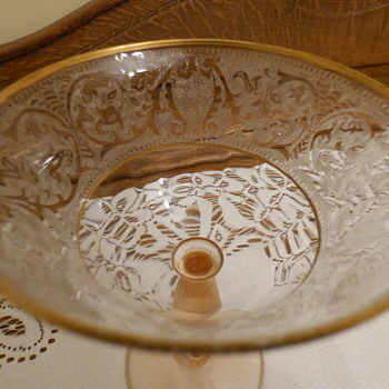 Pink Depression Glass with Gold Edging - Glassware