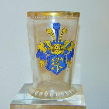 Antique Bohemian Enamelled Family Crest Cup ca 1594 HELP - Art Glass