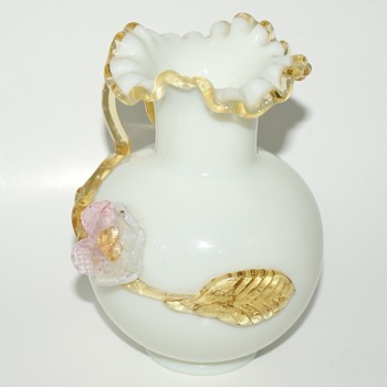 Small Glass Vase with Applied Decoration - Victorian Era