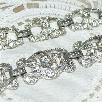 Rhinestone and Pot-Metal (?) Bracelets - Costume Jewelry