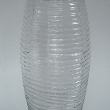 Vintage Modern Ribbed Glass Vase, Ground Top, Bottom edges, Unsigned
